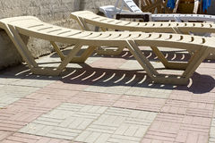 Plastic deck chair Stock Photo