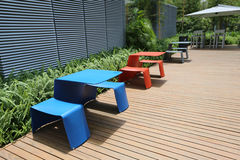Plastic desk and chair at garden Stock Image