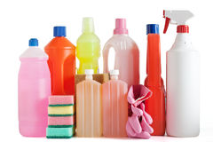 Plastic detergent bottles Stock Photography