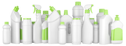 Plastic detergent bottles with green caps in a row. 3d illustration on a white background royalty free illustration