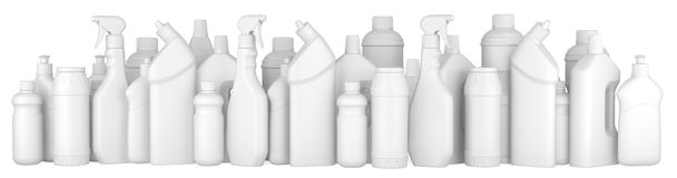 Plastic detergent bottles in a row. Stock Photography