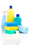 Plastic detergent bottles with sponges Royalty Free Stock Photos