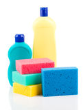 Plastic detergent bottles with sponges Royalty Free Stock Images