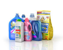 Plastic detergent bottles and washing powder Stock Images
