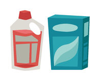 Plastic detergent container and paper box flat vector illustration on white background. Stock Photo