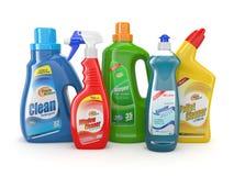 Plastic detergent flessen. Schoonmakende producten. Royalty-vrije Stock Afbeeldingen