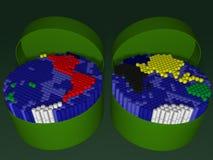 Plastic die buis twee met tellers in een kaart van t worden ingepakt Stock Afbeelding