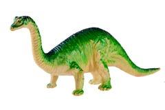 Plastic die dinosaurusstuk speelgoed op witte achtergrond wordt geïsoleerd Stock Afbeelding