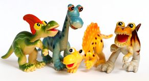 Plastic Dinosaur toy figurines Stock Photo