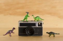 Plastic dinosaurs with vintage camera Royalty Free Stock Image