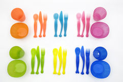 Plastic dish ware set Royalty Free Stock Photos