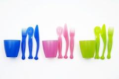 Plastic dish ware set Royalty Free Stock Photography