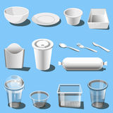 Plastic dishware disposable tableware vector icons. Plastic dishware or disposable tableware vector icons of soup bowls and plates, spoon, knife and fork. Single royalty free illustration