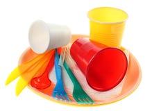 Plastic dishware set Royalty Free Stock Photo