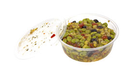 Container with edamame salad Stock Images