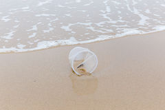 Plastic disposable cup left on sandy beach show environment poll Stock Images