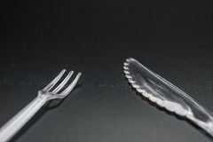 Plastic disposal fork and cutlery Royalty Free Stock Photo