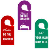 Plastic door hangers with do not disturb sign. In different colors stock illustration