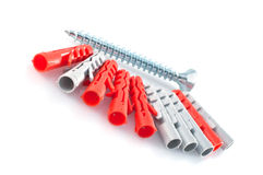 Plastic dowels and screw Stock Images