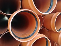 Plastic drain pipes pvc. Plastic drain pipes in the store, industry, industrial, tubes, pvc Royalty Free Stock Images