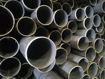 Plastic drain pipes pvc. Plastic drain pipes in the store, industry, industrial, tubes, pvc Stock Photos