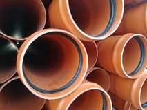 Plastic drain pipes pvc. Plastic drain pipes in the store, industry, industrial, tubes, pvc Stock Images