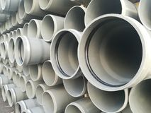 Plastic drain pipes pvc. Plastic drain pipes in the store, industry, industrial, tubes, pvc Royalty Free Stock Photo