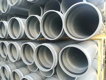 Plastic drain pipes pvc. Plastic drain pipes in the store, industry, industrial, tubes, pvc Royalty Free Stock Photography