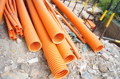 Plastic drainage pipe buried in the ground royalty free stock images