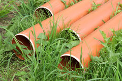 Plastic drainage pipes Stock Photos