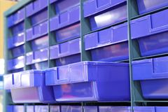 Plastic drawer for keeping parts i. N factory Royalty Free Stock Photography