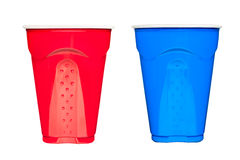 Plastic drinking cups Royalty Free Stock Images