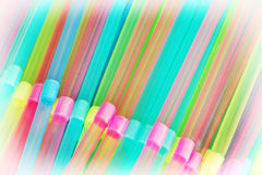 Plastic drinking straws background Stock Photo