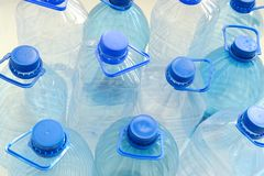 Plastic drinking water bottles. Closeup of empty plastic drinking water bottles Stock Photography