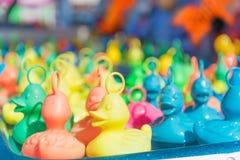 Plastic ducks at the fair royalty free stock photos