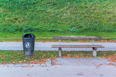 Plastic dust bin in the park Royalty Free Stock Image