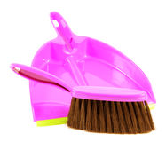 Plastic dustpan and brush Stock Photos