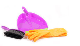 Plastic dustpan gloves and brush Stock Photography