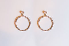 Plastic earrings circle. On a white background Royalty Free Stock Image
