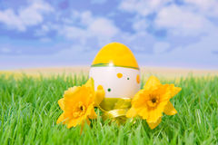 Plastic easter egg on grass with flowers Royalty Free Stock Photos