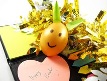 Plastic easter egg with light green rabbit ears, happy easter day Royalty Free Stock Photos