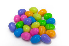 Plastic Easter Eggs. A grouping of multi-colored plastic Easter eggs isolated on a white background Stock Images