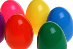 Plastic easter eggs. In a crcle isolated on a white background Stock Photos