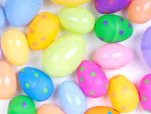 Plastic easter eggs. On a white background Royalty Free Stock Photo