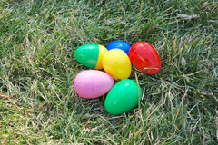 Plastic easter eggs. Used for easter egg hunting Royalty Free Stock Images