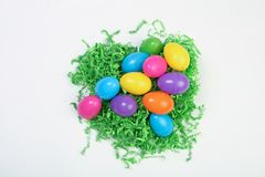 Plastic easter eggs. On white back drop Stock Photos