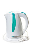 Plastic electric kettle with  electrical cord. Stock Photos