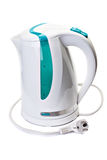 Plastic electric kettle with  electrical cord. Royalty Free Stock Photos