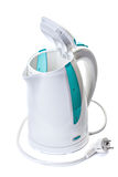 Plastic electric kettle with  electrical cord. Royalty Free Stock Photography