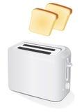 Plastic elektrische broodrooster met toost Stock Afbeelding
